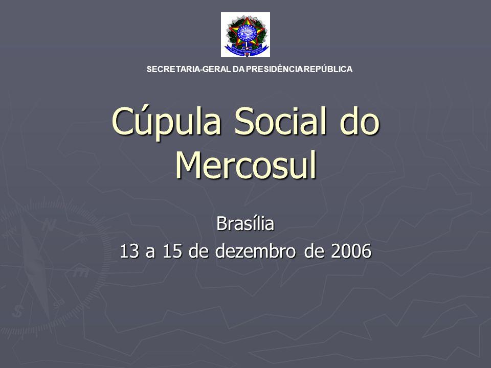 Cúpula Social do Mercosul Brasília, 13 a 15 de dezembro de 2006 PPT Brasil Secretaria Geral da Presidência Somos Mercosul Organizações Sociais Instituições do Mercosul GT 1 GT 2 GT 3GT 4 GT 5GT n Plenária 1: Políticas sociais e desenvolvimento no Mercosul Plenária 2: Participação Social no Mercosul Plenária 3 : Conclusões e Recomendações