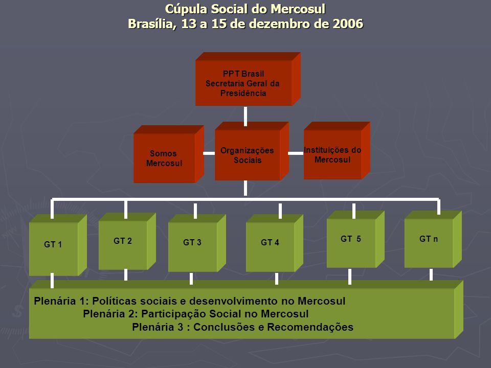 Cúpula Social do Mercosul Brasília, 13 a 15 de dezembro de 2006 PPT Brasil Secretaria Geral da Presidência Somos Mercosul Organizações Sociais Institu