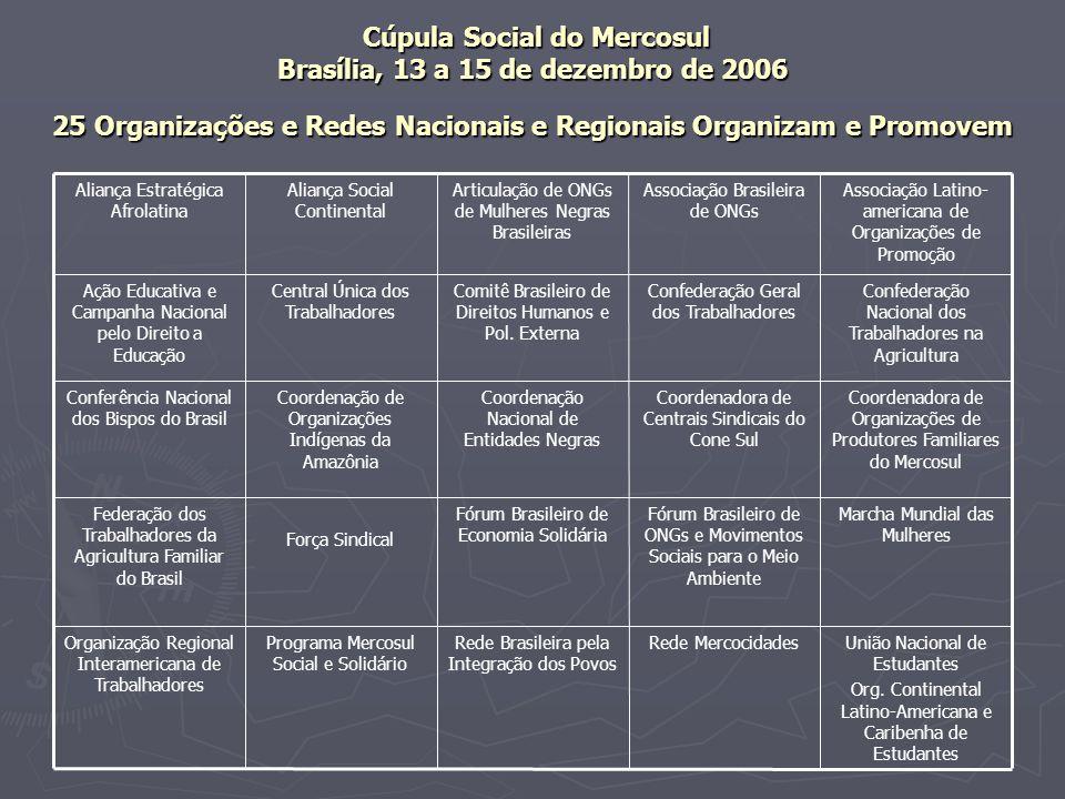 Cúpula Social do Mercosul Brasília, 13 a 15 de dezembro de 2006 25 Organizações e Redes Nacionais e Regionais Organizam e Promovem Cúpula Social do Me