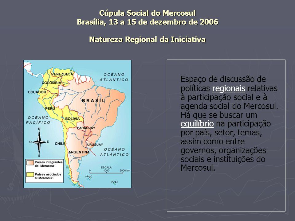 Cúpula Social do Mercosul Brasília, 13 a 15 de dezembro de 2006 Natureza Regional da Iniciativa Espaço de discussão de políticas regionais relativas à participação social e à agenda social do Mercosul.