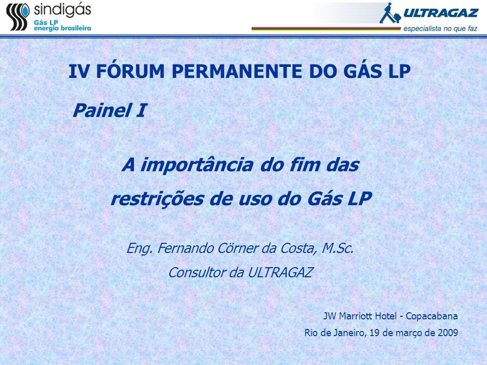 IV FÓRUM PERMANENTE DO GÁS LP Painel I A importância do fim das restrições de uso do Gás LP Eng. Fernando Cörner da Costa, M.Sc. Consultor da ULTRAGAZ
