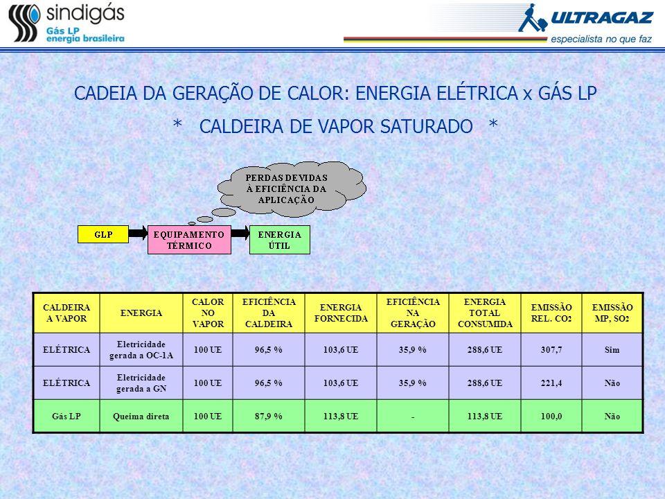 CALDEIRA A VAPOR ENERGIA CALOR NO VAPOR EFICIÊNCIA DA CALDEIRA ENERGIA FORNECIDA EFICIÊNCIA NA GERAÇÃO ENERGIA TOTAL CONSUMIDA EMISSÃO REL. CO 2 EMISS