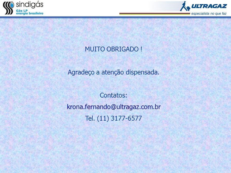 MUITO OBRIGADO ! Agradeço a atenção dispensada. Contatos: krona.fernando@ultragaz.com.br Tel. (11) 3177-6577