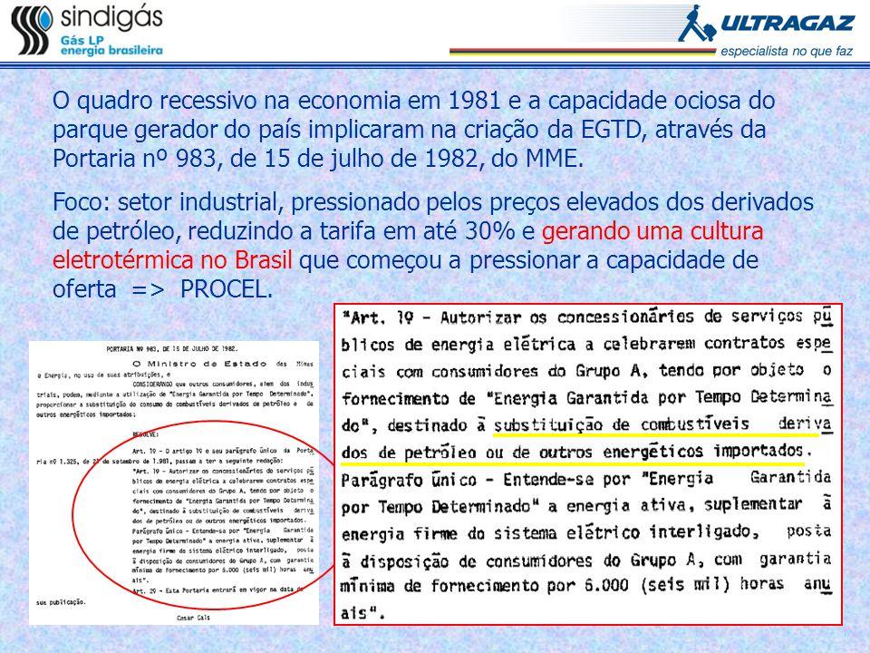Crise de oferta de energia elétrica em 2001 Consequências: racionamento, penalidades e investimentos para geração termelétrica no curto prazo.