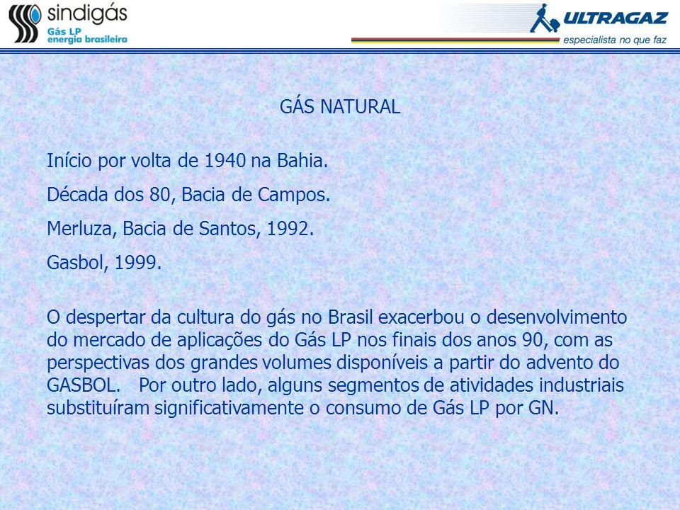 GÁS NATURAL Início por volta de 1940 na Bahia. Década dos 80, Bacia de Campos. Merluza, Bacia de Santos, 1992. Gasbol, 1999. O despertar da cultura do