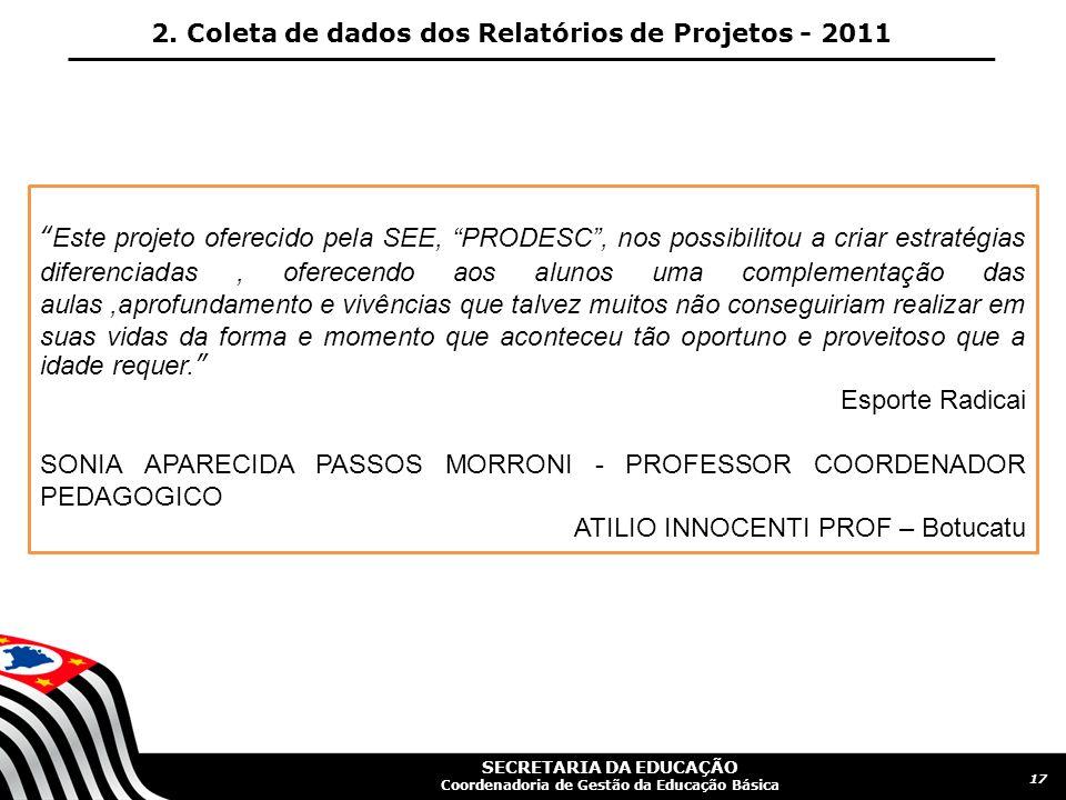 SECRETARIA DA EDUCAÇÃO Coordenadoria de Gestão da Educação Básica 18 2.