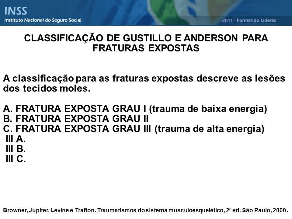 CLASSIFICAÇÃO DE GUSTILLO E ANDERSON PARA FRATURAS EXPOSTAS A classificação para as fraturas expostas descreve as lesões dos tecidos moles. A. FRATURA
