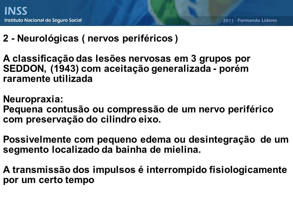 2 - Neurológicas ( nervos periféricos ) A classificação das lesões nervosas em 3 grupos por SEDDON, (1943) com aceitação generalizada - porém rarament