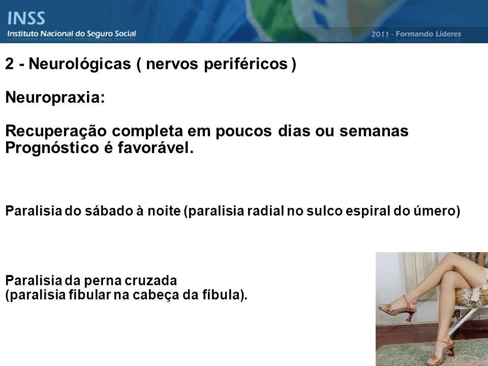 2 - Neurológicas ( nervos periféricos ) Neuropraxia: Recuperação completa em poucos dias ou semanas Prognóstico é favorável. Paralisia do sábado à noi