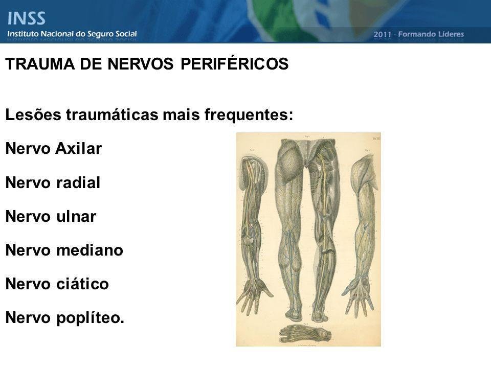 TRAUMA DE NERVOS PERIFÉRICOS Lesões traumáticas mais frequentes: Nervo Axilar Nervo radial Nervo ulnar Nervo mediano Nervo ciático Nervo poplíteo.