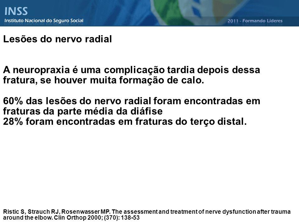 Lesões do nervo radial A neuropraxia é uma complicação tardia depois dessa fratura, se houver muita formação de calo. 60% das lesões do nervo radial f