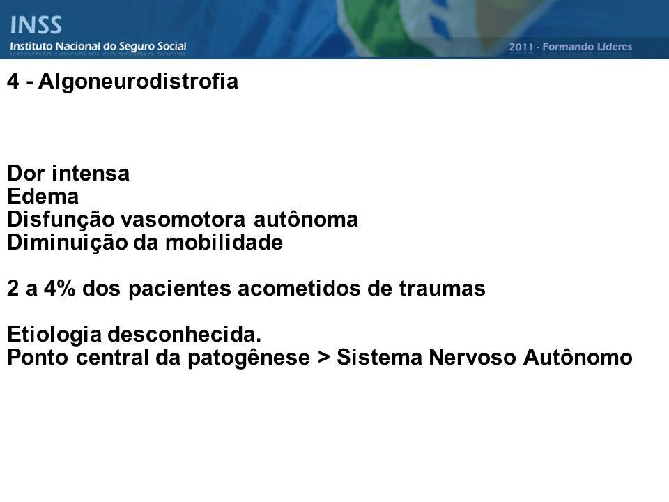 4 - Algoneurodistrofia Dor intensa Edema Disfunção vasomotora autônoma Diminuição da mobilidade 2 a 4% dos pacientes acometidos de traumas Etiologia d