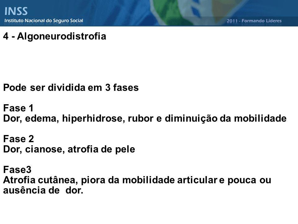 4 - Algoneurodistrofia Pode ser dividida em 3 fases Fase 1 Dor, edema, hiperhidrose, rubor e diminuição da mobilidade Fase 2 Dor, cianose, atrofia de
