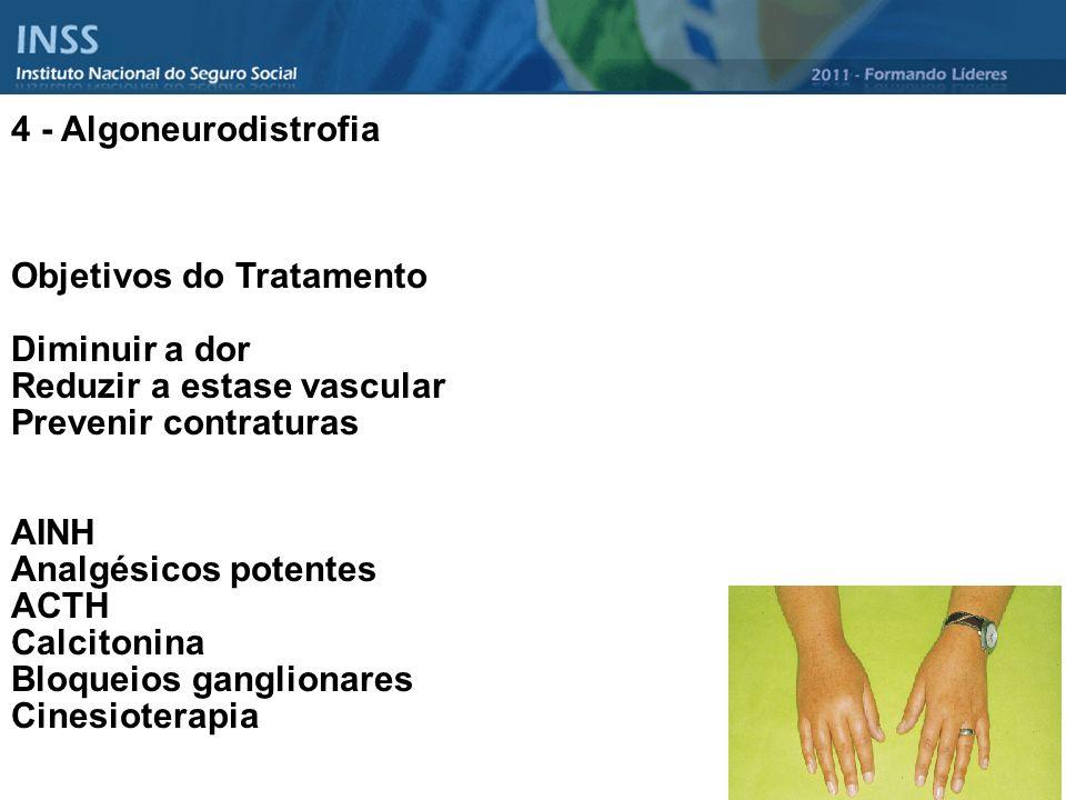 4 - Algoneurodistrofia Objetivos do Tratamento Diminuir a dor Reduzir a estase vascular Prevenir contraturas AINH Analgésicos potentes ACTH Calcitonin