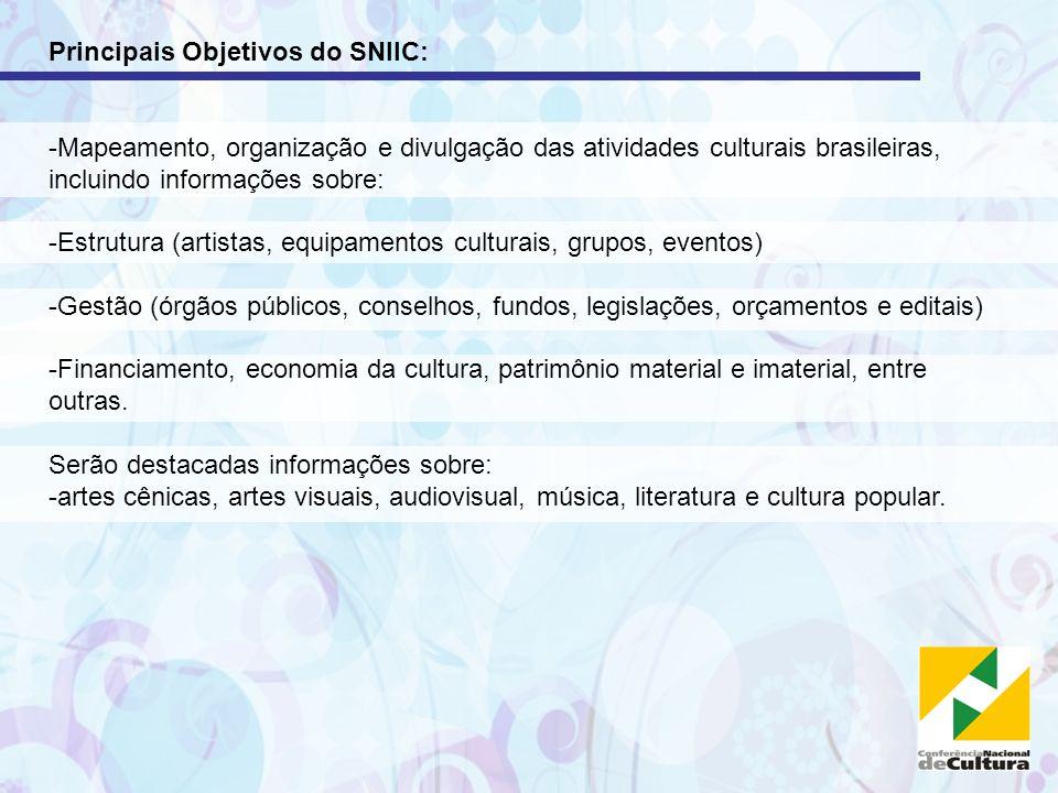 Principais Objetivos do SNIIC: -Mapeamento, organização e divulgação das atividades culturais brasileiras, incluindo informações sobre: -Estrutura (ar