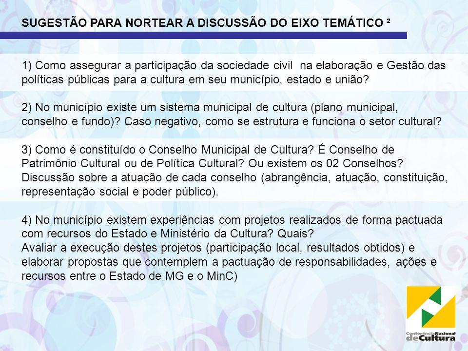 SUGESTÃO PARA NORTEAR A DISCUSSÃO DO EIXO TEMÁTICO ² 1) Como assegurar a participação da sociedade civil na elaboração e Gestão das políticas públicas