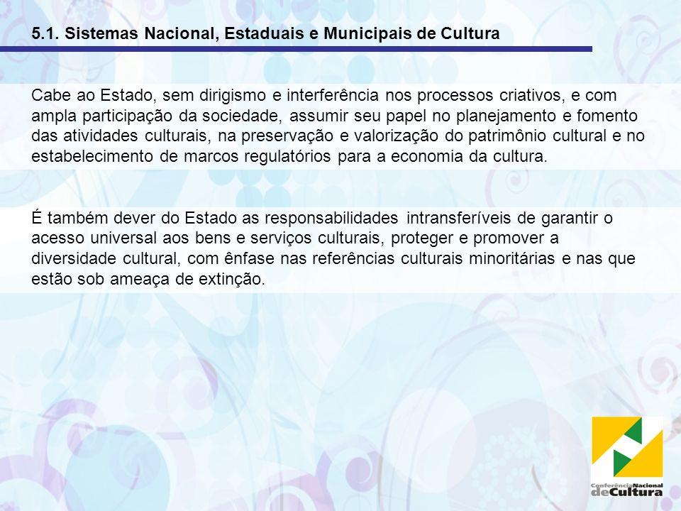 5.1. Sistemas Nacional, Estaduais e Municipais de Cultura Cabe ao Estado, sem dirigismo e interferência nos processos criativos, e com ampla participa