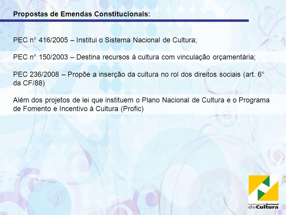Propostas de Emendas Constitucionais: PEC n° 416/2005 – Institui o Sistema Nacional de Cultura; PEC n° 150/2003 – Destina recursos à cultura com vincu