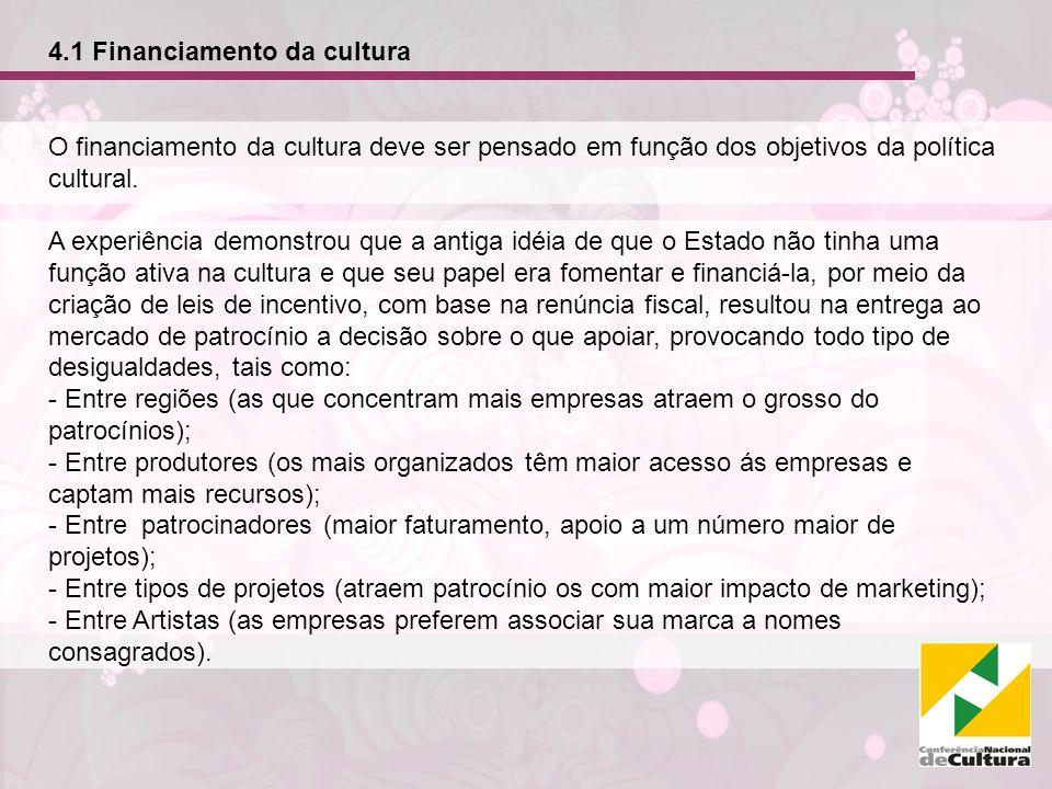 4.1 Financiamento da cultura O financiamento da cultura deve ser pensado em função dos objetivos da política cultural. A experiência demonstrou que a