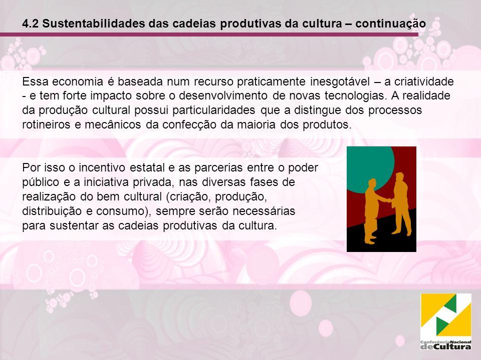 4.2 Sustentabilidades das cadeias produtivas da cultura – continuação Essa economia é baseada num recurso praticamente inesgotável – a criatividade - e tem forte impacto sobre o desenvolvimento de novas tecnologias.