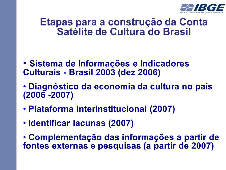Etapas para a construção da Conta Satélite de Cultura do Brasil Sistema de Informações e Indicadores Culturais - Brasil 2003 (dez 2006) Diagnóstico da economia da cultura no país (2006 -2007) Plataforma interinstitucional (2007) Identificar lacunas (2007) Complementação das informações a partir de fontes externas e pesquisas (a partir de 2007)
