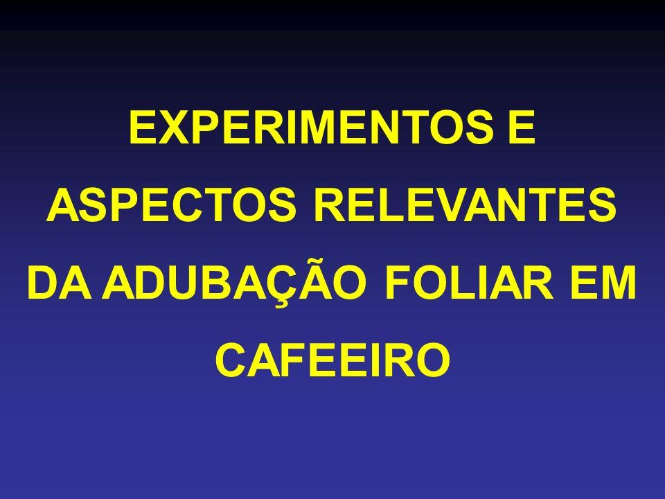 EXPERIMENTOS E ASPECTOS RELEVANTES DA ADUBAÇÃO FOLIAR EM CAFEEIRO