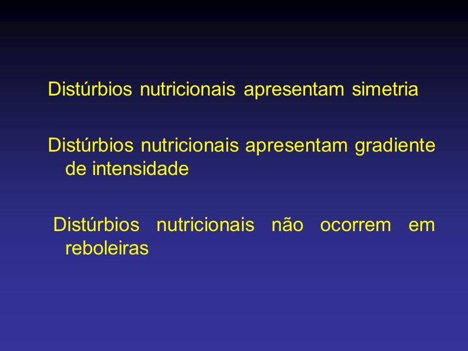Distúrbios nutricionais apresentam simetria Distúrbios nutricionais apresentam gradiente de intensidade Distúrbios nutricionais não ocorrem em rebolei