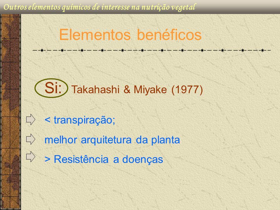 Elementos benéficos Si: Takahashi & Miyake (1977) < transpiração; melhor arquitetura da planta > Resistência a doenças Outros elementos químicos de in