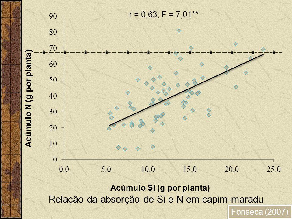 Fonseca (2007) Relação da absorção de Si e N em capim-maradu