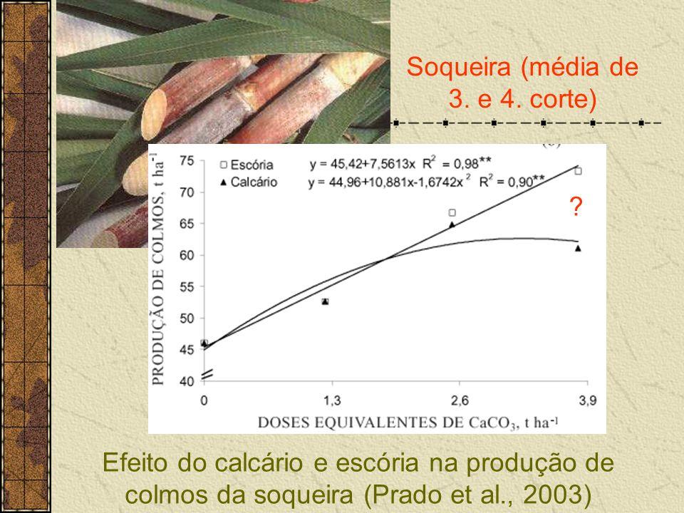 Efeito do calcário e escória na produção de colmos da soqueira (Prado et al., 2003) Soqueira (média de 3. e 4. corte) ?