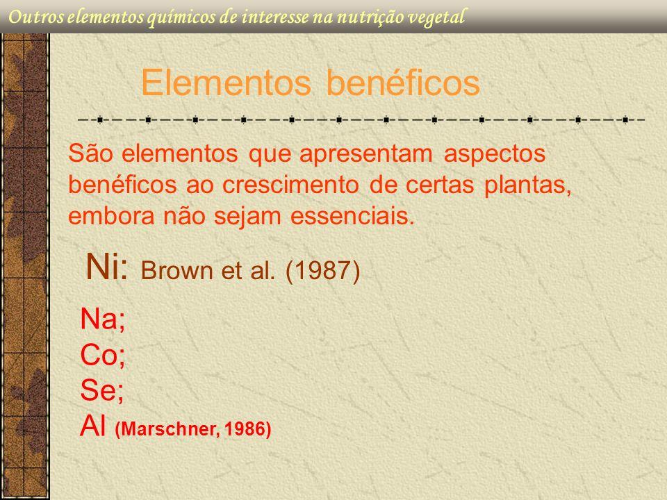 São elementos que apresentam aspectos benéficos ao crescimento de certas plantas, embora não sejam essenciais. Elementos benéficos Ni: Brown et al. (1