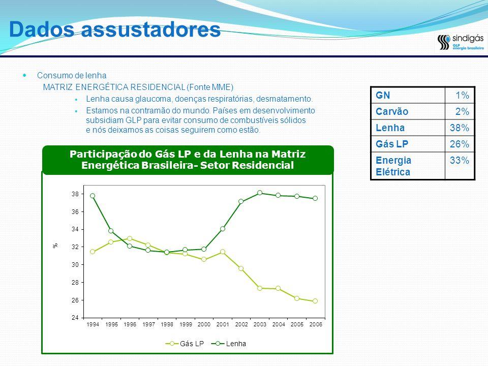 Dados assustadores Consumo de lenha MATRIZ ENERGÉTICA RESIDENCIAL (Fonte MME) Lenha causa glaucoma, doenças respiratórias, desmatamento. Estamos na co