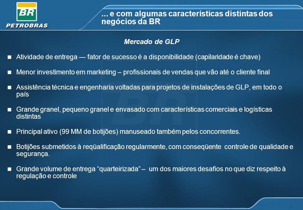 7... e com algumas características distintas dos negócios da BR n Atividade de entrega fator de sucesso é a disponibilidade (capilaridade é chave) n M