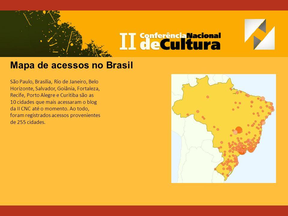 São Paulo, Brasília, Rio de Janeiro, Belo Horizonte, Salvador, Goiânia, Fortaleza, Recife, Porto Alegre e Curitiba são as 10 cidades que mais acessaram o blog da II CNC até o momento.