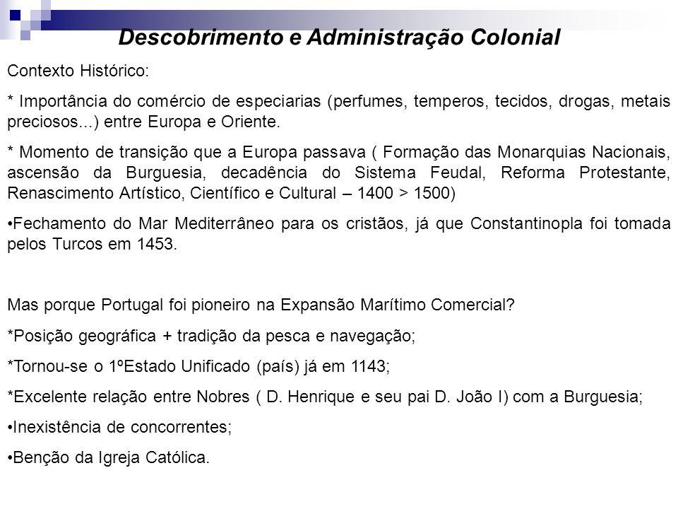 Descobrimento e Administração Colonial Contexto Histórico: * Importância do comércio de especiarias (perfumes, temperos, tecidos, drogas, metais preci