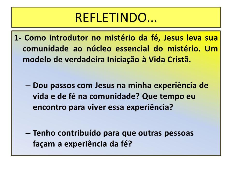REFLETINDO... 1- Como introdutor no mistério da fé, Jesus leva sua comunidade ao núcleo essencial do mistério. Um modelo de verdadeira Iniciação à Vid