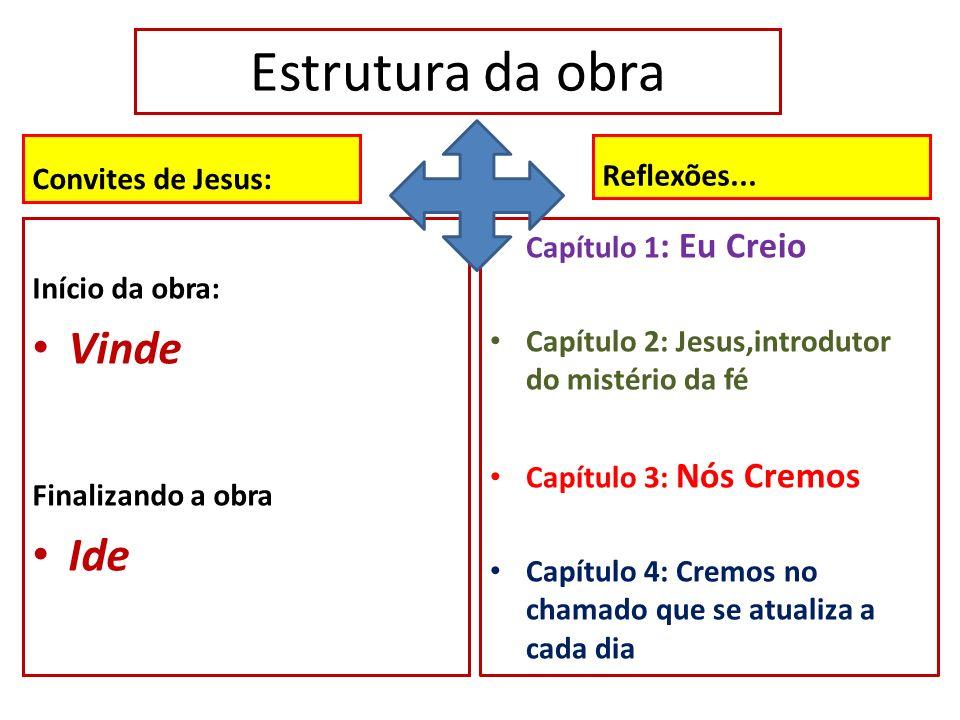 Estrutura da obra Convites de Jesus: Início da obra: Vinde Finalizando a obra Ide Reflexões... Capítulo 1 : Eu Creio Capítulo 2: Jesus,introdutor do m