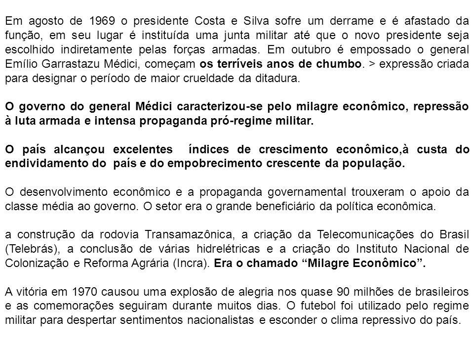 Em agosto de 1969 o presidente Costa e Silva sofre um derrame e é afastado da função, em seu lugar é instituída uma junta militar até que o novo presi
