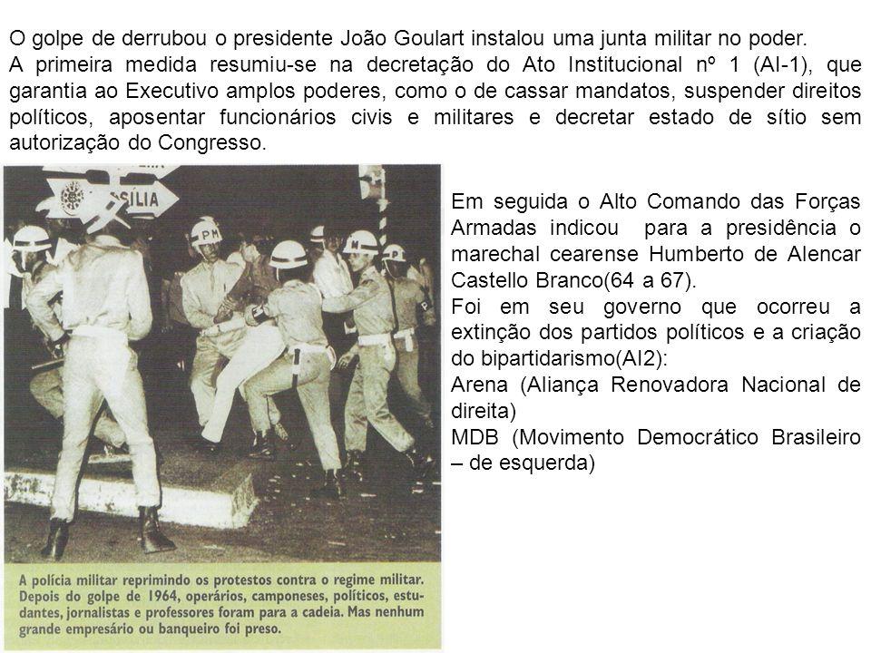 O golpe de derrubou o presidente João Goulart instalou uma junta militar no poder. A primeira medida resumiu-se na decretação do Ato Institucional nº