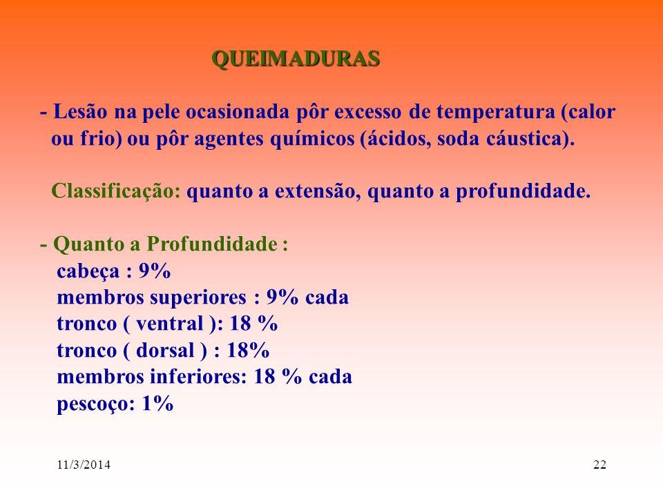 11/3/201422 QUEIMADURAS QUEIMADURAS - Lesão na pele ocasionada pôr excesso de temperatura (calor ou frio) ou pôr agentes químicos (ácidos, soda cáusti
