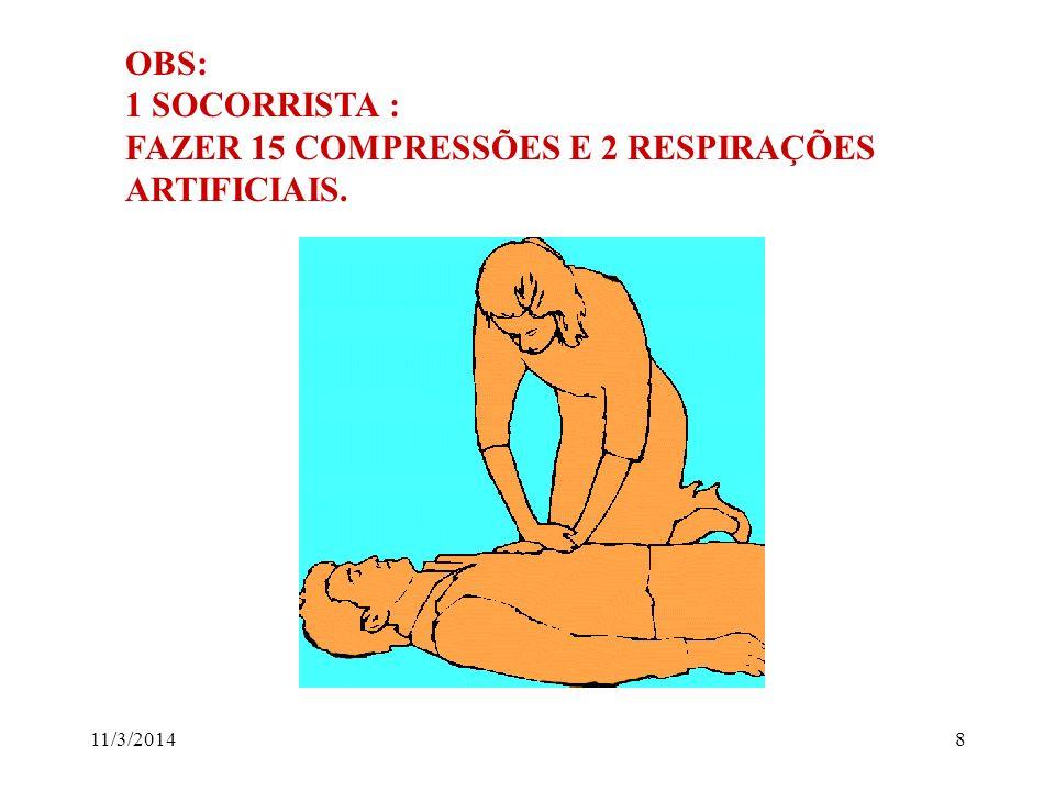 11/3/20148 OBS: 1 SOCORRISTA : FAZER 15 COMPRESSÕES E 2 RESPIRAÇÕES ARTIFICIAIS.