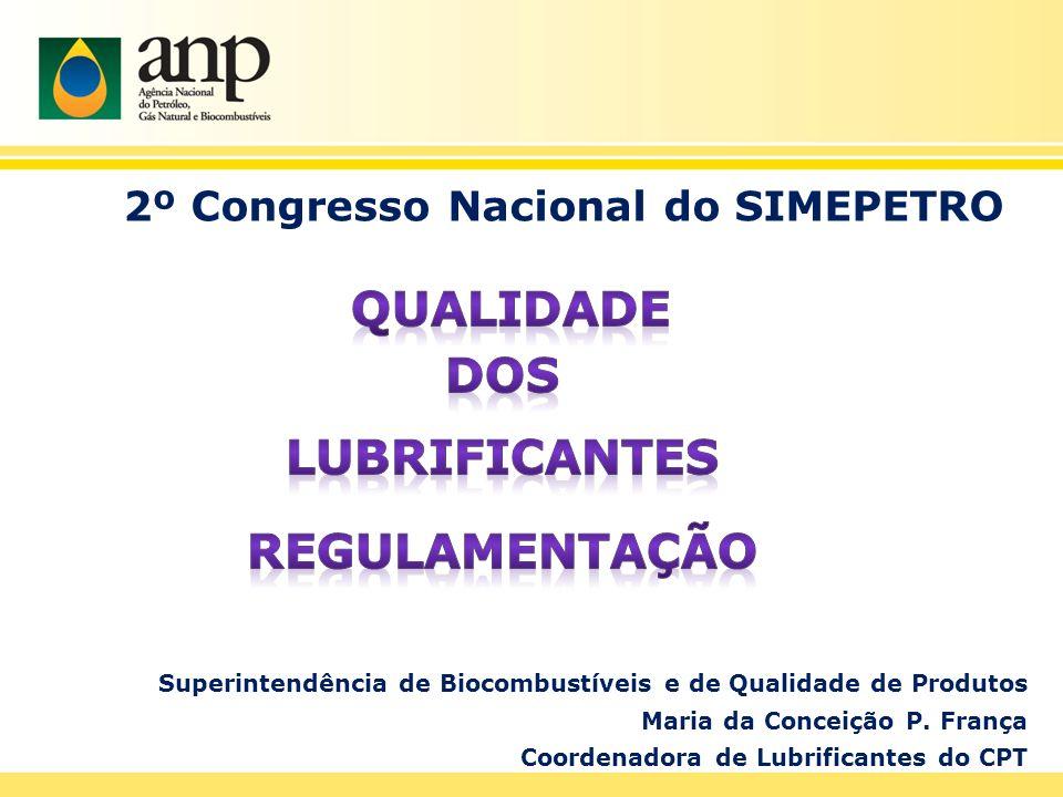 Superintendência de Biocombustíveis e de Qualidade de Produtos Maria da Conceição P. França Coordenadora de Lubrificantes do CPT
