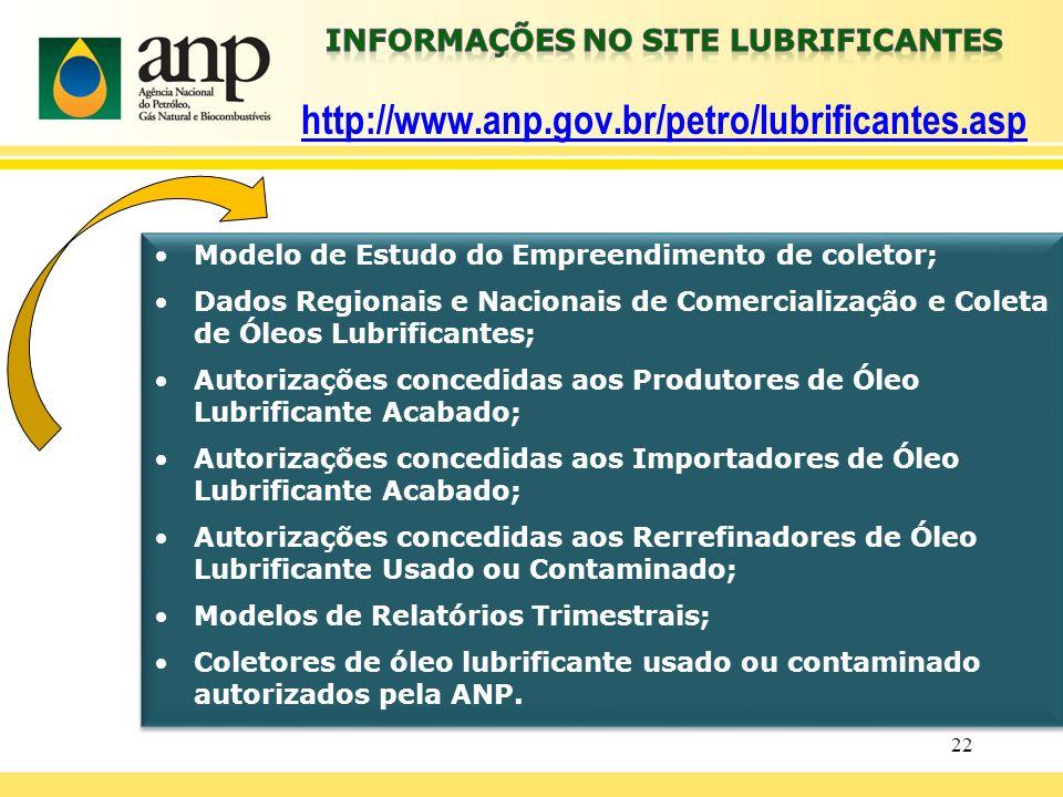 22 Modelo de Estudo do Empreendimento de coletor; Dados Regionais e Nacionais de Comercialização e Coleta de Óleos Lubrificantes; Autorizações concedi