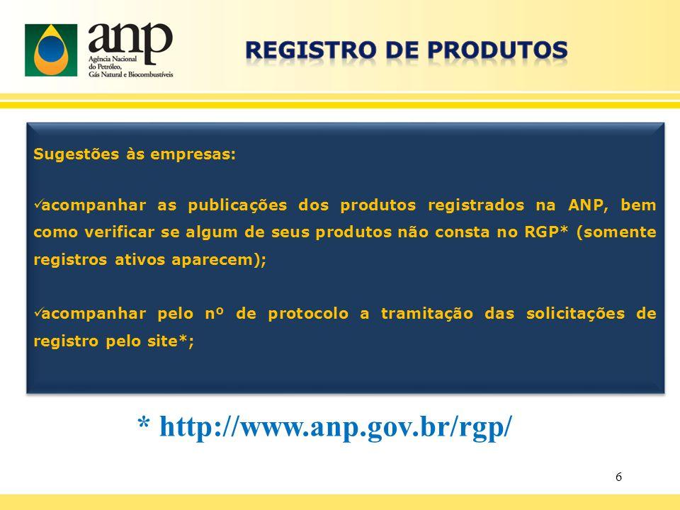 6 Sugestões às empresas: acompanhar as publicações dos produtos registrados na ANP, bem como verificar se algum de seus produtos não consta no RGP* (s