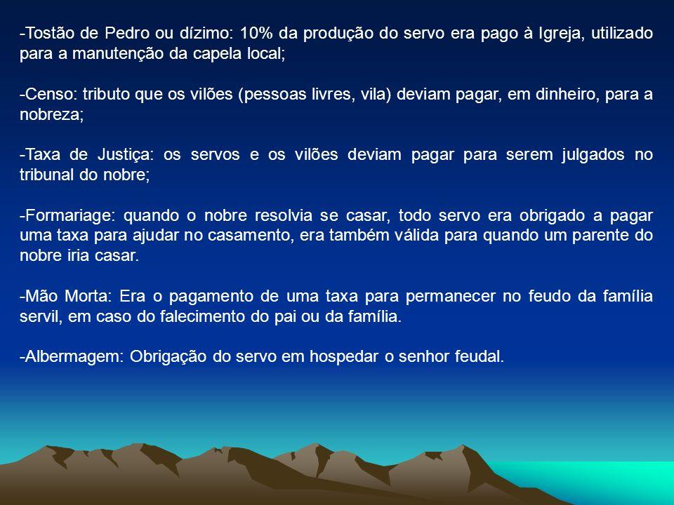 -Tostão de Pedro ou dízimo: 10% da produção do servo era pago à Igreja, utilizado para a manutenção da capela local; -Censo: tributo que os vilões (pe