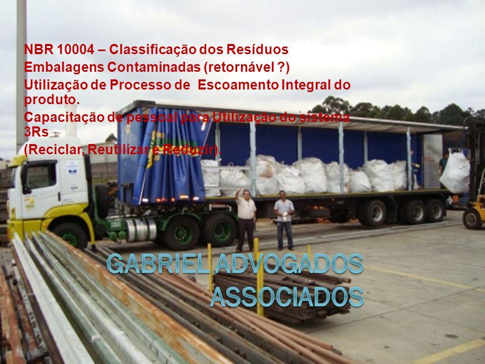 NBR 10004 – Classificação dos Resíduos Embalagens Contaminadas (retornável ) Utilização de Processo de Escoamento Integral do produto.