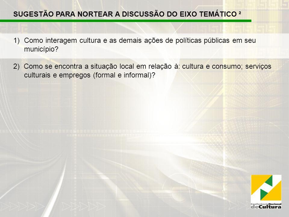 SUGESTÃO PARA NORTEAR A DISCUSSÃO DO EIXO TEMÁTICO ² 1)Como interagem cultura e as demais ações de políticas públicas em seu município.