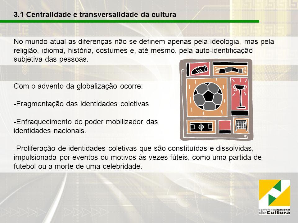 3.1 Centralidade e transversalidade da cultura No mundo atual as diferenças não se definem apenas pela ideologia, mas pela religião, idioma, história, costumes e, até mesmo, pela auto-identificação subjetiva das pessoas.