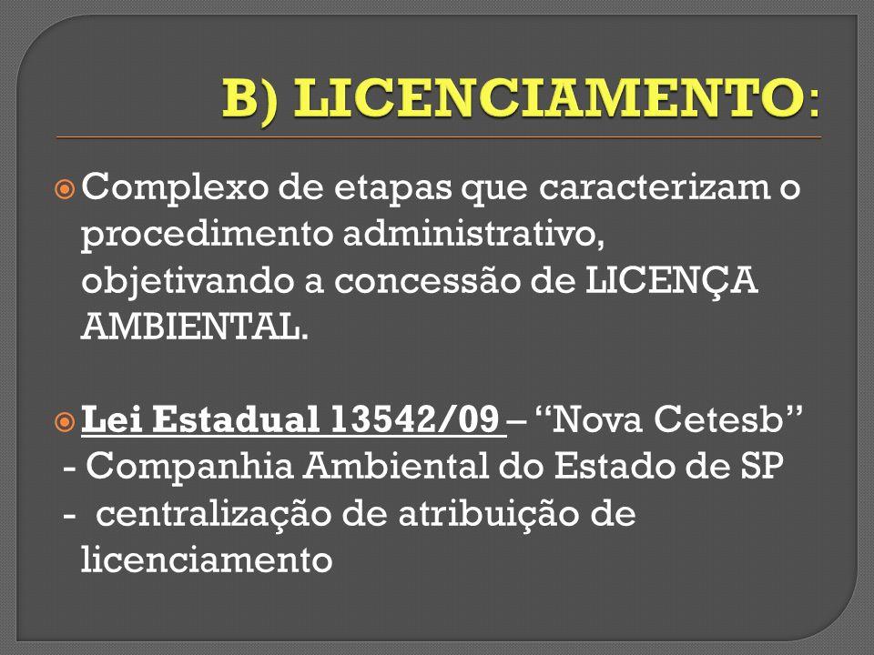 Complexo de etapas que caracterizam o procedimento administrativo, objetivando a concessão de LICENÇA AMBIENTAL. Lei Estadual 13542/09 – Nova Cetesb -