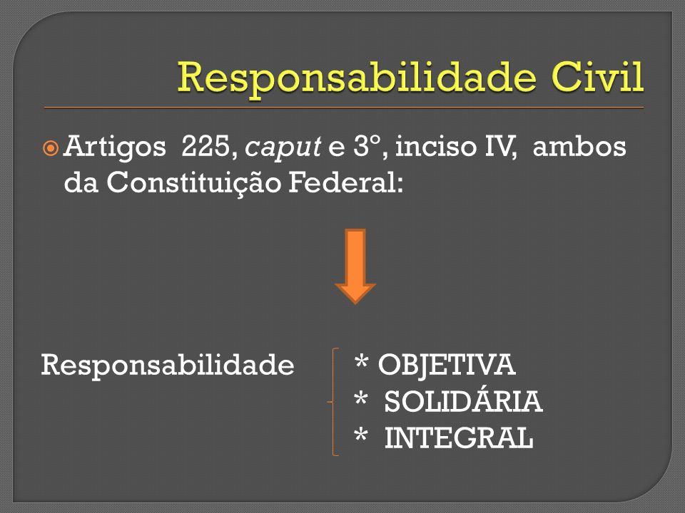 Artigos 225, caput e 3º, inciso IV, ambos da Constituição Federal: Responsabilidade * OBJETIVA * SOLIDÁRIA * INTEGRAL